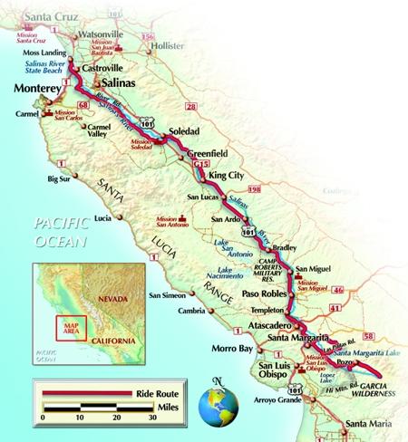 Margarita Proud Salinas River - California river map